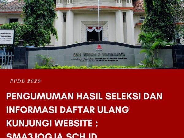 Informasi Peserta Didik Baru SMA Negeri 3 Yogyakarta Tahun Ajaran 2020-2021