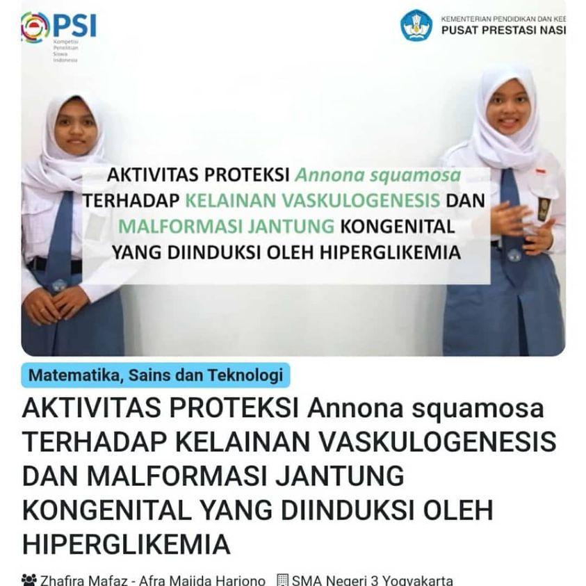 Peraih Medali Emas pada Lomba KOPSI (Kompetisi Penelitian Siswa Indonesia) Bidang MST (Matematika, Sains dan Teknologi) Tingkat Nasional Tahun 2020